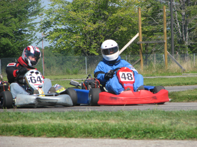 Mike racing Don at Thompson Kart Raceway